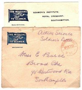 GB WW1 Hants NAVAL Cover Southampton Seamen's Institute Contents 1914 63.16