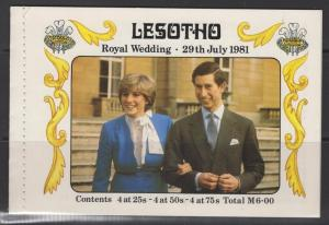 LESOTHO SGSB2 1981 ROYAL WEDDING BOOKLET MNH