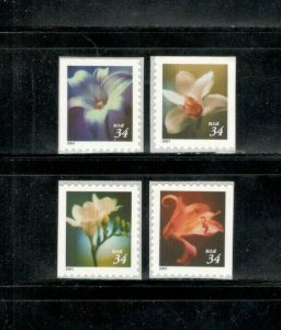 3487-3490 Flowers Set Of 4 Mint/nh FREE SHIPPING (A-360)