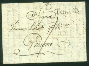 ITALY-Torino 1815 SINGLE SHEET FOLDED LETTER. F-VF  (77-78)