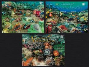 Vanuatu Fish Corals Reef Shells 3 Sheetlets SG#MS943+MS956+MS961