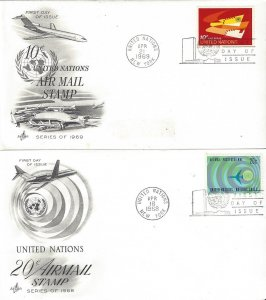 United Nations C13-4  FDC  Airmail  Artcraft Cachet