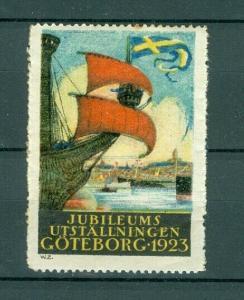 Sweden Poster Stamp MLH 1923. Convention Goteborg 1923. Swedish Flag. Ships.