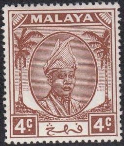 Malaya Pahang 1950 MH Sc #53 4c Sultan Abu Bakar