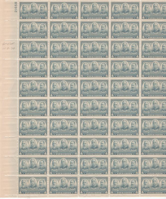 United States US Stamps 1936-7 Navy Issue Admirals Full Sheet Scott 793 MNH