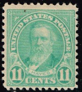 US STAMP #563 – 1922 11c Hayes, blue, perf 11 MH/OG