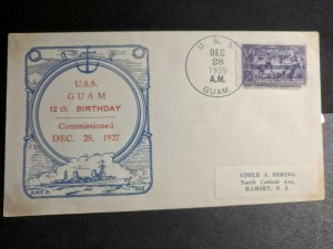USS GUAM PR-3 Naval Cover 1939 RICHELL Cachet HANKOW, CHINA #855