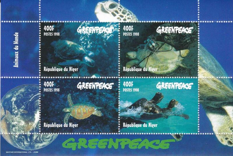 Niger MNH S/S 976E Greenpeace Turtles 1998 SCV 16.00