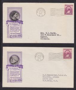 US Planty 784-40 FDCs. 1936 Susan B. Anthony, 2 Ioor Cachets