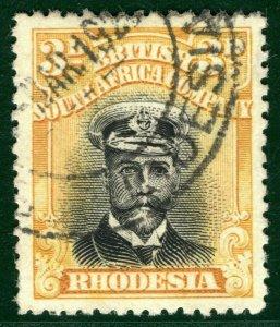 RHODESIA BSACo KGV Admiral SG.293 3d Black & Yellow (1922-23) Used c£48+ EBLUE21