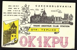 QSL QSO RADIO CARD OK1KPU,1980,Czechoslovakia, (Q2188)