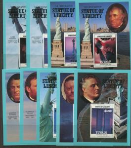 Tuvalu - Scott 401-409 - Statue of Liberty-1986 - MNH - Set of 9 Souviner Sheet