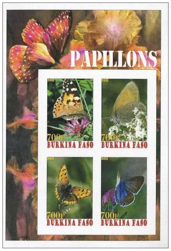 BURKINA FASO SHEET IMPERF CINDERELLA BUTTERFLIES INSECTS