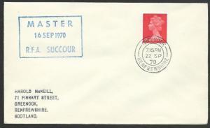 GB SCOTLAND 1970 cover RFA SUCCOUR  navy ship cachet - Greenock cds........47932