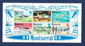 MONTSERRAT - Scott 273a - FVF MNH S/S - Leeward Islands Airplanes - 1971
