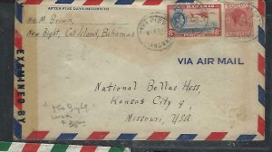BAHAMAS COVER (PP2909BB) 1944 KGVI  8D+2D CENSOR THE BIGHT TO USA