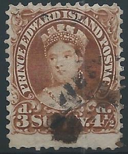 Prince Edward, 1870, Scott #10, 4 1/2p brown, used., V.F.