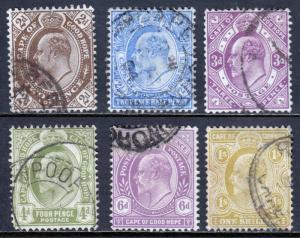 CAPE OF GOOD HOPE — SCOTT 65//70 (SG 72//77) — 1902-04 KEVII — USED — SCV $14.00