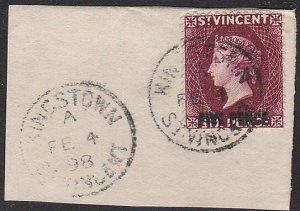 ST VINCENT 1898 FIVE PENCE on 6d on piece - Kingston cds....................C625