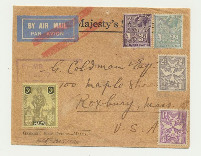 MALTA 1933 OHMS POSTAGE DUE COVER TO USA,10d RATE+3d PD'S (SEE BELOW)