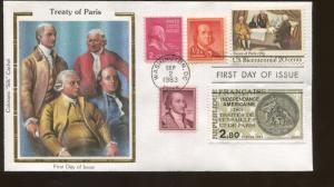1983 Washington DC Treaty of Paris Colorano Silk Cachet First Day Cover