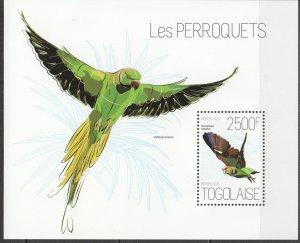 TG634 2013 TOGO FAUNA BIRDS PARROTS LES PERROQUETS BL MNH