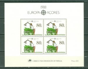 PORTUGAL-AZORES 1988 EUROPA-MAIL TRANSPORT. #370a SOUV. SHEET MNH...$7.00