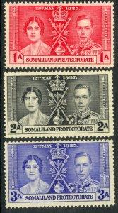 SOMALILAND PROTECTORATE 1937 KGVI CORONATION Set Sc 81-83 MNH