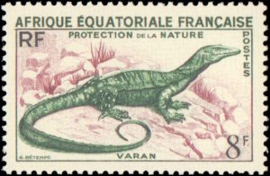 French Equatorial Africa #188, Complete Set, 1955, Lizards, Never Hinged
