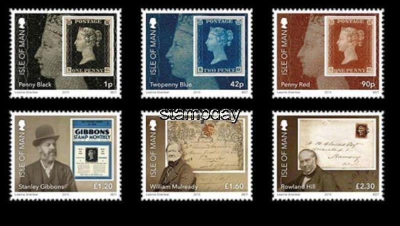 ISLE OF MAN 2015 STAMP ON STAMP PENNY BLACK R.HILL  S.GIBBONS S11362-4