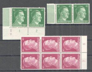 B1359 1941 DEUTSCHES REICH WORLD WAR II ADOLF HITLER !!! #795,795A 10 STAMPS MNH