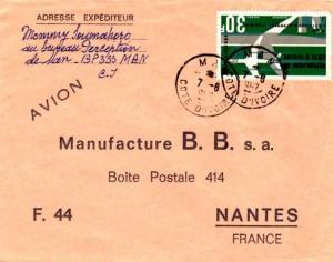 Ivory Coast 30F Air Afrique 1967 Man, Cote d'Ivoire Airmail to Nantes, France...
