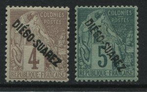 Diego Suarez overprinted on 1892 French Colonies 4 and 5 centimes mint o.g.