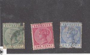 BARBADOS # 60-62 QUEEN VICTORIA SELECTION CAT VALUE $64+