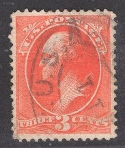 US Stamp #214 3c Vermillion Washington USED SCV $50.00