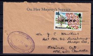Montserrat Inverted O.H.M.S. ovpt on cover # O15 var.