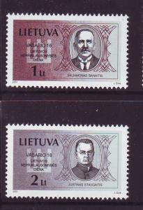 Lithuania Sc 686-7 2001 Banaitis Staugaitis stamp set  NH