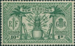 New Hebrides 1925 SG44 1d 10c green Weapons Idols MLH