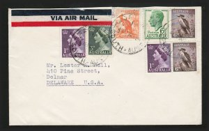 AUSTRALIA COVER PRE-DECIMAL AIRMAIL TO USA (ABOUT 1954)