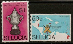 ST.LUCIA SG431/2 1976 WEST INDIAN VICTORY IN WORLD CRICKET CUP MNH