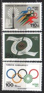 Turkey. 1972. 2261-63. Munich, summer olympic games. MNH.