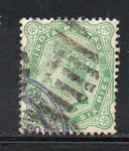 India Sc 43 1882 4a6p green  Victoria stamp used