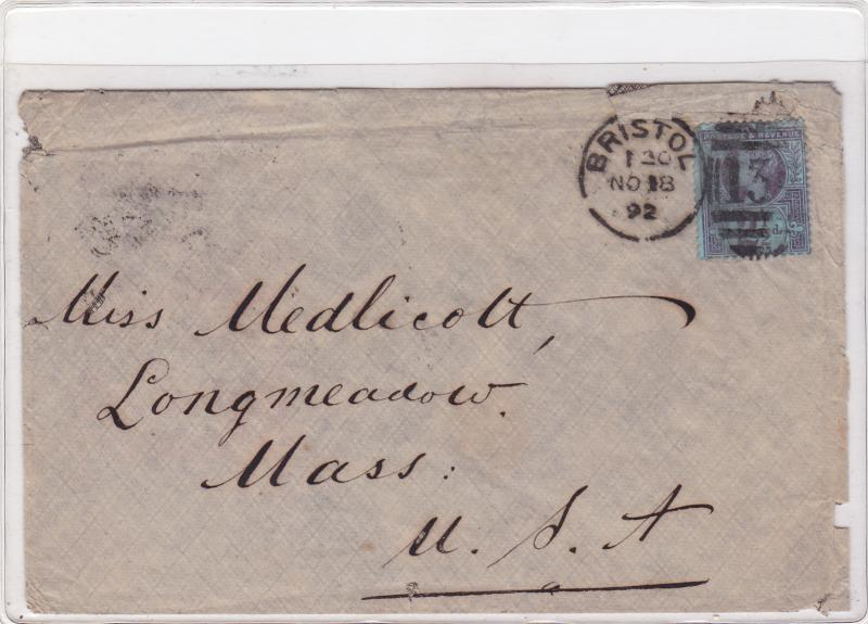 bristol to u.s.a. 1892  2½ d stamps cover ref r15363
