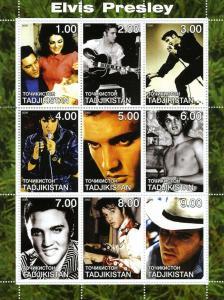 Tajikistan 2000 ELVIS PRESLEY Sheet (9) Perforated Mint (NH)