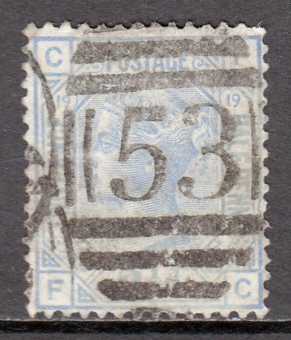 Great Britain - Scott #68 - Plate 19 - CF - Used - 2 perf creases - SCV $42.50