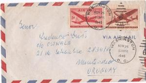 US 1948 A/M cover 5c + 15c to Uruguay (bam)