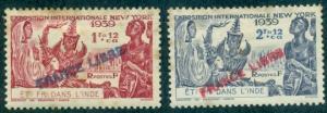 French India #141-142  Mint  Scott $10.25   #142 Thin