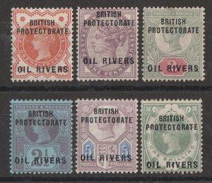 NIGER COAST : 1892 Oil Rivers on QV GB set ½d to 1/-