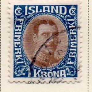 Iceland Sc 185 1931 1  kr dark blue & light brown Christian X stamp used