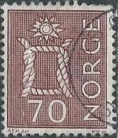 Norway 468 (used) 70ø, boatswain's knot, brown (1970)